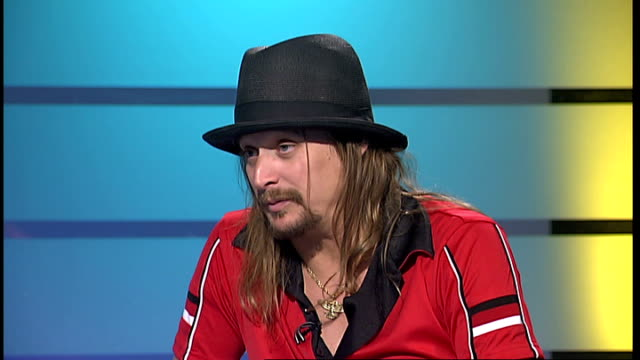 kid rock interview; kid rock live studio interview sot - talks about entertaining troops in iraq - kid rock stock videos & royalty-free footage
