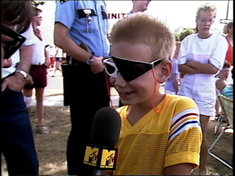kid talking about spam and the spam parade - 1987 stock-videos und b-roll-filmmaterial