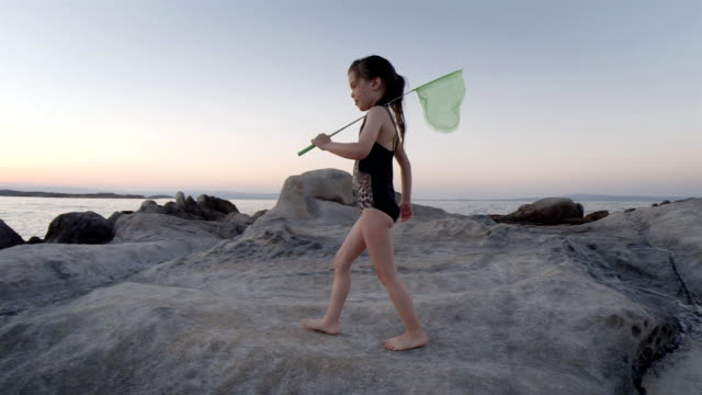 Kid With Butterfly Net Exploring Nature by The Sea. Summer Resort