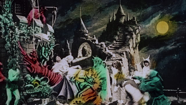 vídeos de stock e filmes b-roll de 1903 ws kidnapped queen being tied up in front of abductors dancing and celebrating during the film illusions, le royaume des fées (the kingdom of fairies) by georges melies - 1903
