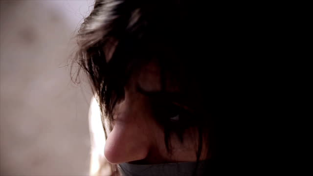 kidnapping concept. exhausted woman  with tied hands,close up - psychopathy stock videos and b-roll footage