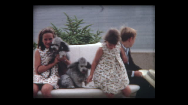 vidéos et rushes de 1967 kids and dogs at new palm desert airport - young animal
