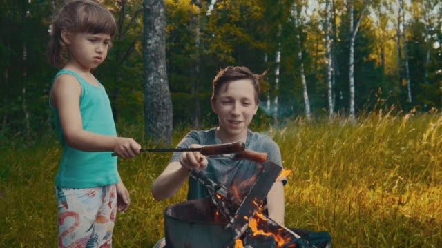 kinder picknicken im wald - picnic stock-videos und b-roll-filmmaterial