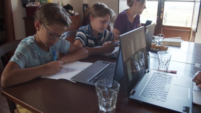 kids attending to online class during the covid-19 pandemic - quarantena video stock e b–roll