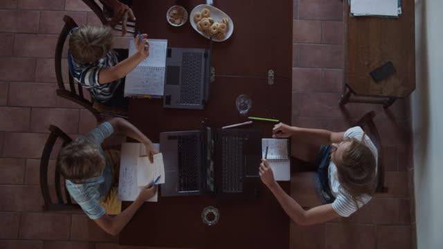 bambini che frequentano le lezioni online durante la pandemia di covid-19 - veduta dall'alto video stock e b–roll