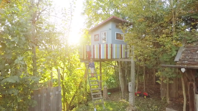 stockvideo's en b-roll-footage met kids climbing down from a treehouse in the garden at sunset - tuinhek