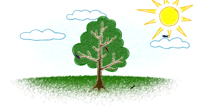 kid's drawing of growing tree - digital animation stock videos & royalty-free footage