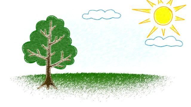 Kid's drawing of growing tree
