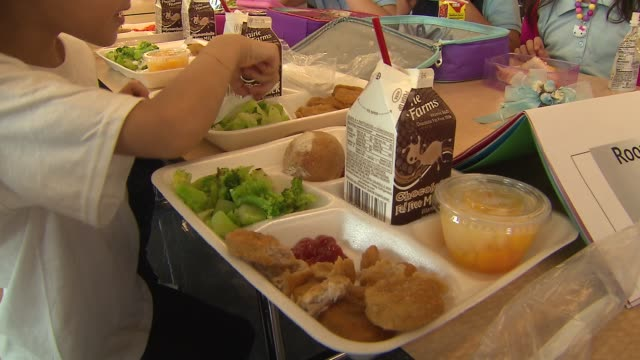 wgn kids eating lunch in a school cafeteria at federico garcia lorca elementary on aug 2 2014 in chicago - kantine stock-videos und b-roll-filmmaterial