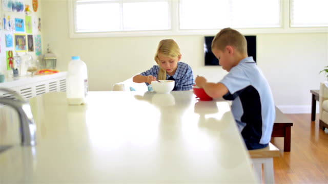 kids having breakfast before school - brother stock videos and b-roll footage