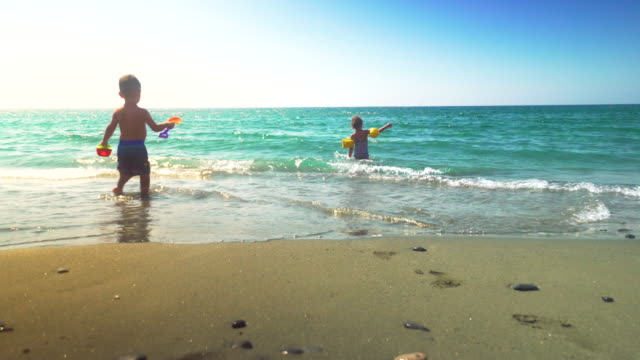 Kids Having Fun on the Beach in Cyprus