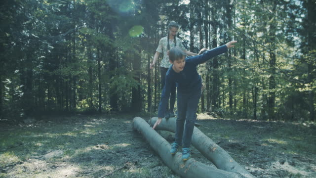 kids hikers enjoying walking on tree trunks in forest - balance stock videos & royalty-free footage