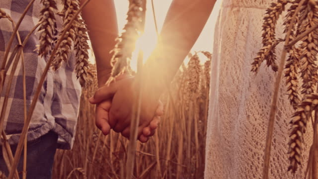 Kids holding hands in the wheat field
