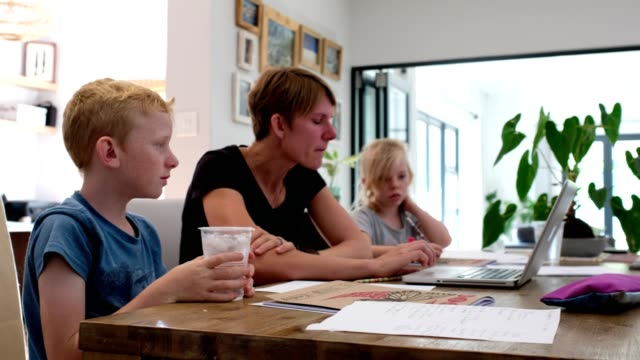 Kids isolated at home doing school work with their mother