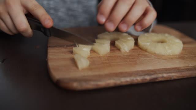 kids making fruit salad at home. - fruit salad stock videos & royalty-free footage