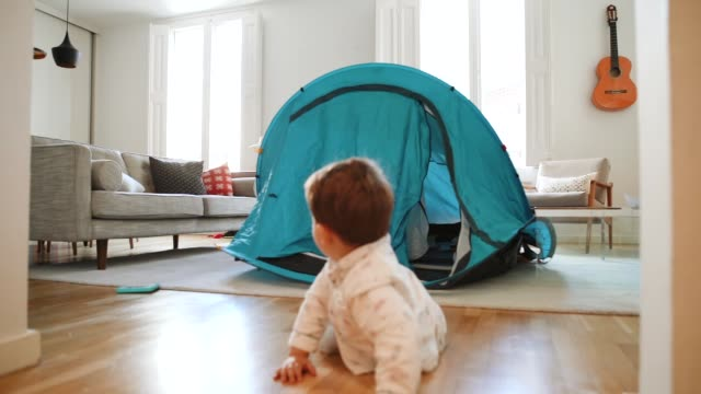kids playing at home with a tent - living room stock videos & royalty-free footage