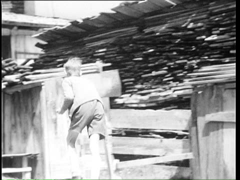 1937 b/w ms pan kids playing at sawmill / tyrol, austria - austria stock videos & royalty-free footage