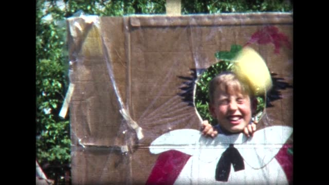 1966 kids playing drench the clown - school fete stock videos and b-roll footage
