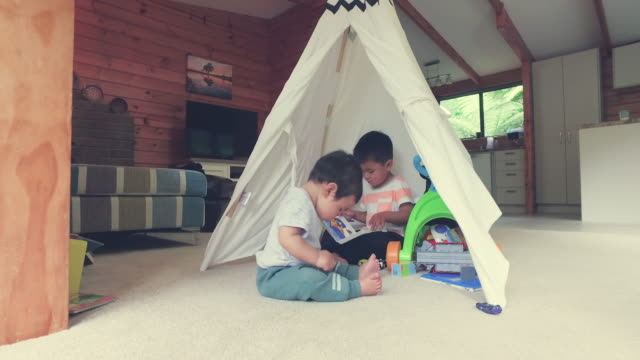 Kids Playing In Tent At Home.