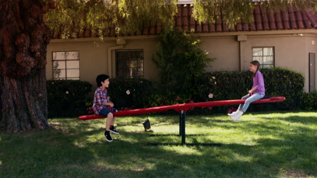 ws kids playing on a seesaw - parco giochi video stock e b–roll