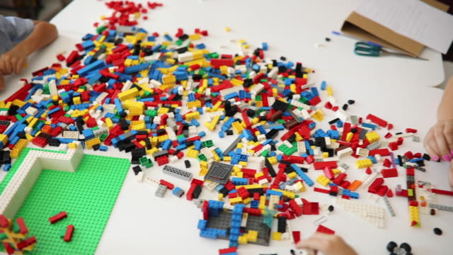 kids playing with lego - preschool building stock videos & royalty-free footage