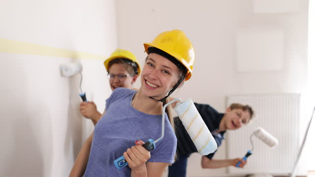 kids preparing to painting the room - decorating stock videos & royalty-free footage
