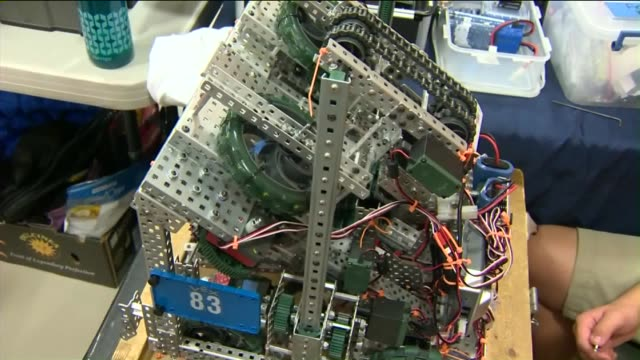 kids robotic competition at miraleste middle school in rancho palos verdes. - palos verdes stock videos & royalty-free footage