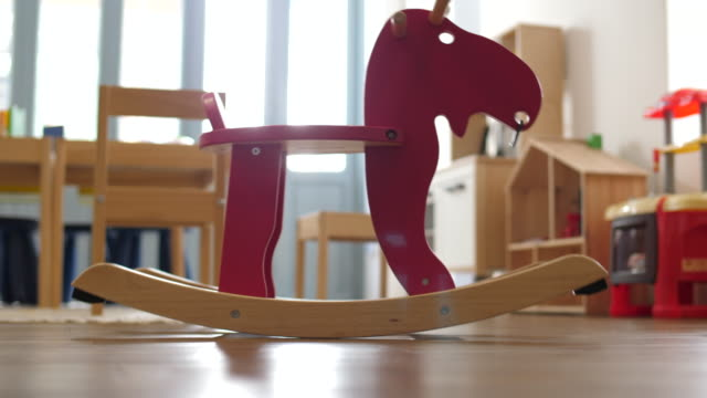 kids rocking horse - nursery bedroom stock videos & royalty-free footage