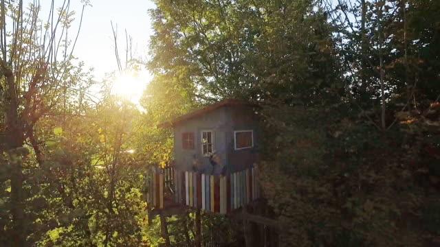 vídeos de stock, filmes e b-roll de kids standing at a treehouse in the garden at sunset - treehouse
