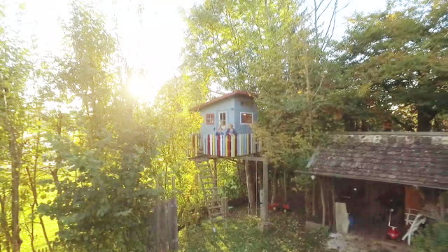 stockvideo's en b-roll-footage met kids standing at a treehouse in the garden at sunset - tuinhek