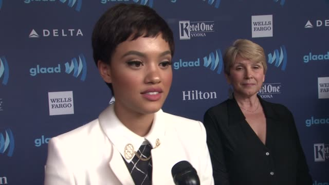 interview kiersey clemons on the series 'transparent' being nominated on being at the event and on the homophobic storyline on 'empire' at the 26th... - the beverly hilton hotel stock videos & royalty-free footage