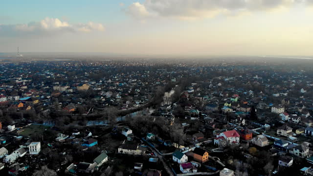 kiev region, ukraine. aerial view of cottages and apartment buildings. private sector near the city. - ukraine stock videos & royalty-free footage