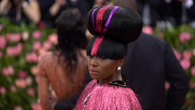 kiki layne at the 2019 met gala celebrating camp notes on fashion arrivals at metropolitan museum of art on may 06 2019 in new york city - met gala 2019 stock videos and b-roll footage