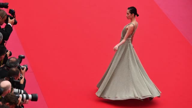 kiko mizuhara poses for photographers on the of 'yomeddine' red carpet on may 9, 2018 in cannes, france. - cannes stock videos & royalty-free footage