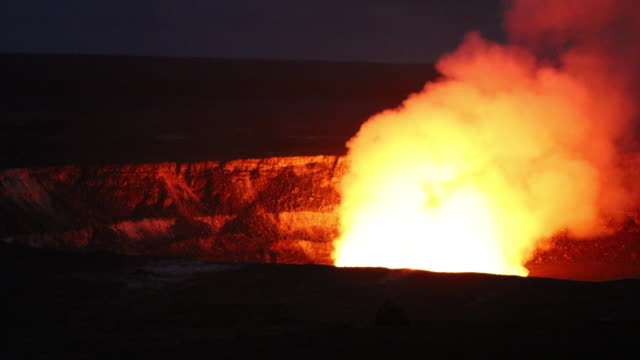 kilauea fumarole at night - kilauea stock videos & royalty-free footage