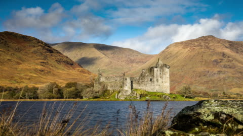 kilchurn castle in scotland - tracking time lapse - castle stock videos & royalty-free footage