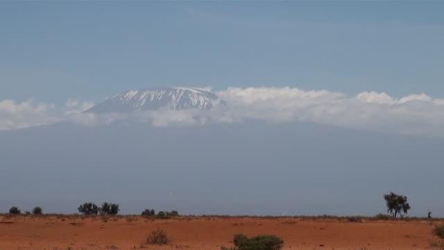 ws kilimanjaro behind red soil savanna near amboseli national park audio / amboseli, rift valley, kenya - komplett stock-videos und b-roll-filmmaterial
