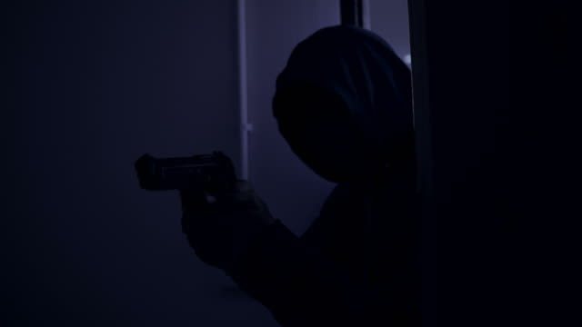 killer or murder with knife approaching to the door and entering to the room - knife crime stock videos & royalty-free footage