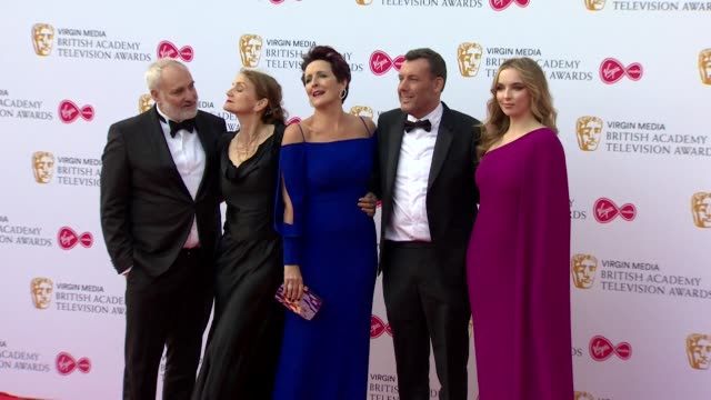 killing eve cast members pose for photos on red carpet at bafta tv awards 2019 at royal festival hall london - british academy television awards stock videos & royalty-free footage