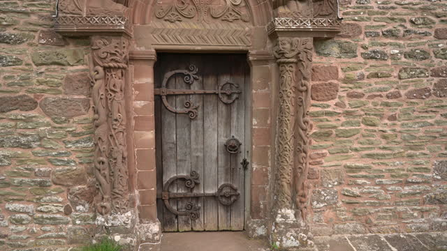 kilpeck church st mary and st david, herefordshire, uk - carving craft product stock videos & royalty-free footage