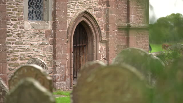 kilpeck church st mary and st david, herefordshire, uk - sandstone stock videos & royalty-free footage