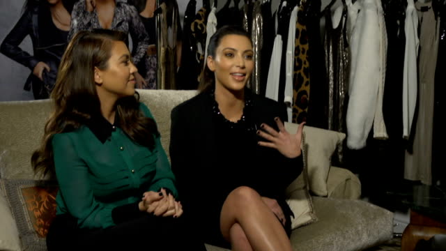 Kim and Kourtney Kardashian interview on 'Kardashian Kollection' clothing line ENGLAND London INT Kourtney Kardashian and Kim Kardashian interview...