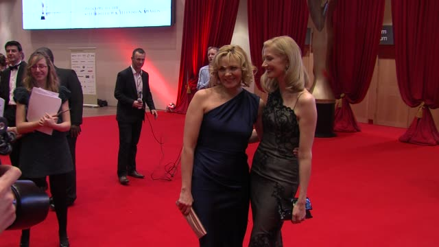 kim cattrall and joely richardson at the the irish film & television awards at dublin . - irish film and television awards stock videos & royalty-free footage