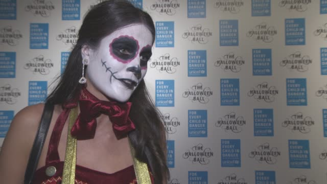 INTERVIEW Kim Johnson on her costume celebrating The Halloween at UNICEF The Halloween Ball at One Mayfair on October 29 2015 in London England