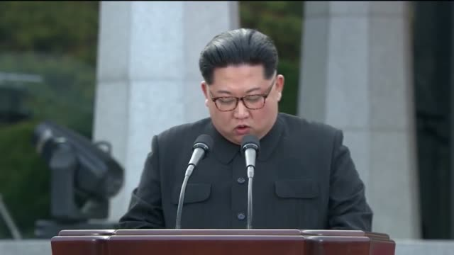 Kim Jong Un speaks during the InterKorean Summit at the Peace House on April 27 2018 in Panmunjom South Korea Kim and Moon meet at the border today...