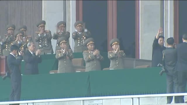 kim jongun attends parade to mark centenary of kim ilsung north korea pyongyang ext kim jongun and military generals standing and applauding on... - 100th anniversary stock videos & royalty-free footage