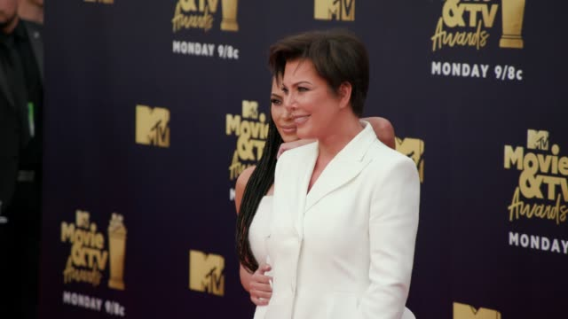 Kim Kardashian and Kris Jenner at 2018 MTV Movie TV Awards Arrivals at Barker Hangar on June 16 2018 in Santa Monica California