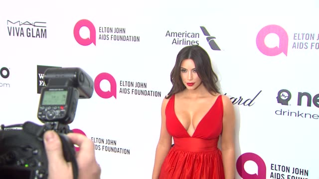 kim kardashian at elton john aids foundation presents 22nd annual academy awards viewing party sponsored by chopard neuro drinks and wells fargo on... - wells fargo stock videos and b-roll footage