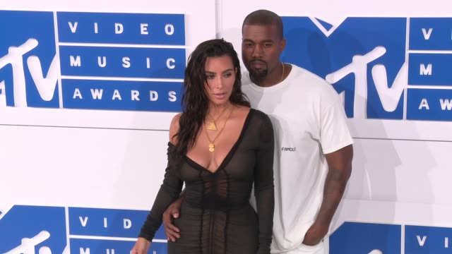 Kim Kardashian Kanye West at 2016 MTV Video Music Awards Arrivals at Madison Square Garden on August 28 2016 in New York City