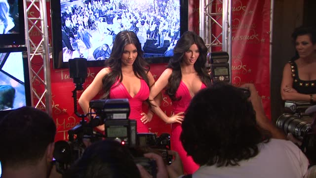 kim kardashian kim's wax figure and kris jenner at the kim kardashian wax figure unveiling at madame tussauds at new york ny - madame tussauds stock videos & royalty-free footage